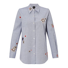 Buy Maison Scotch Embroidered Blouse, Blue Online at johnlewis.com