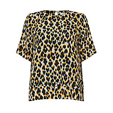Buy Samsoe & Samsoe Gretha Double Layer Blouse, Leopard Jaune Online at johnlewis.com