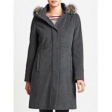Buy Gerry Weber Hooded Faux Fur Trim Wool Cashmere Coat, Grey Melange Online at johnlewis.com
