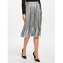 Buy Maison Scotch Metallic Pleated Midi Skirt, Silver Online at johnlewis.com
