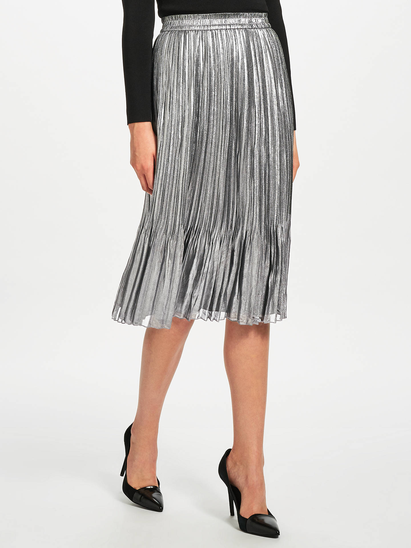80586a7607 Buy Maison Scotch Metallic Pleated Midi Skirt, Silver, XS Online at  johnlewis.com ...