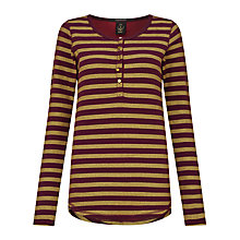Buy Maison Scotch Metallic Fibre Grandad Stripe Jersey Top, Red/Yellow Online at johnlewis.com