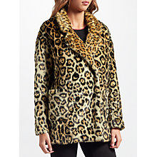 Buy Maison Scotch Leopard Print Faux Fur Coat, Multi Online at johnlewis.com