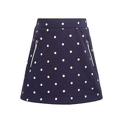 John Lewis Girls' Spot Print Sweater Skirt, Navy