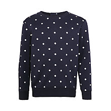 Buy John Lewis Girls' Spot Print Sweatshirt, Navy Online at johnlewis.com