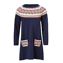 Buy John Lewis Girls' Fair Isle Knitted Dress, Navy Online at johnlewis.com