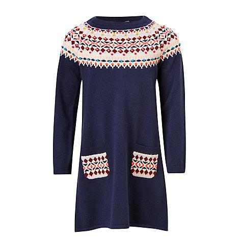 Buy John Lewis Girls' Fair Isle Knitted Dress, Navy | John Lewis