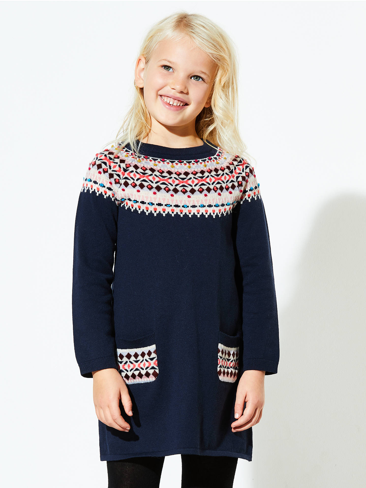 Release disinfectant cabbage  John Lewis Girls' Fair Isle Knitted Dress, Navy at John Lewis & Partners