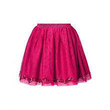 Buy John Lewis Girls' Mesh And Sequin Skirt, Berry Online at johnlewis.com