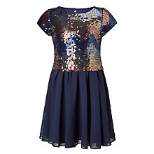 Buy John Lewis Girls' Zig Zag Dress, Navy Online at johnlewis.com