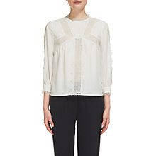 Buy Whistles Tabby Lace Panelled Blouse, Ivory Online at johnlewis.com
