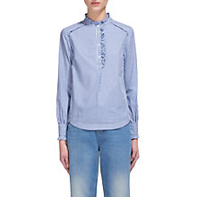 Buy Whistles Ruffle Detail Stripe Shirt, Blue/White Online at johnlewis.com