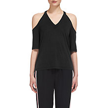Buy Whistles Cupro Cold Shoulder T-Shirt, Black Online at johnlewis.com