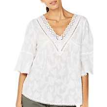 Buy Mint Velvet Floral Burnout Blouse, Ivory Online at johnlewis.com