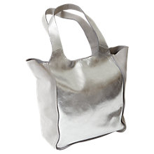 Buy Mint Velvet Erin Metallic Slouchy Shopper, Silver Online at johnlewis.com