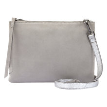 Buy Mint Velvet Lottie Leather Metallic Across Body Bag, Silver Online at johnlewis.com