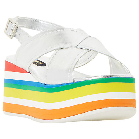 Buy Dune Black Levell Cross Strap Sandals, Silver Online at johnlewis.com
