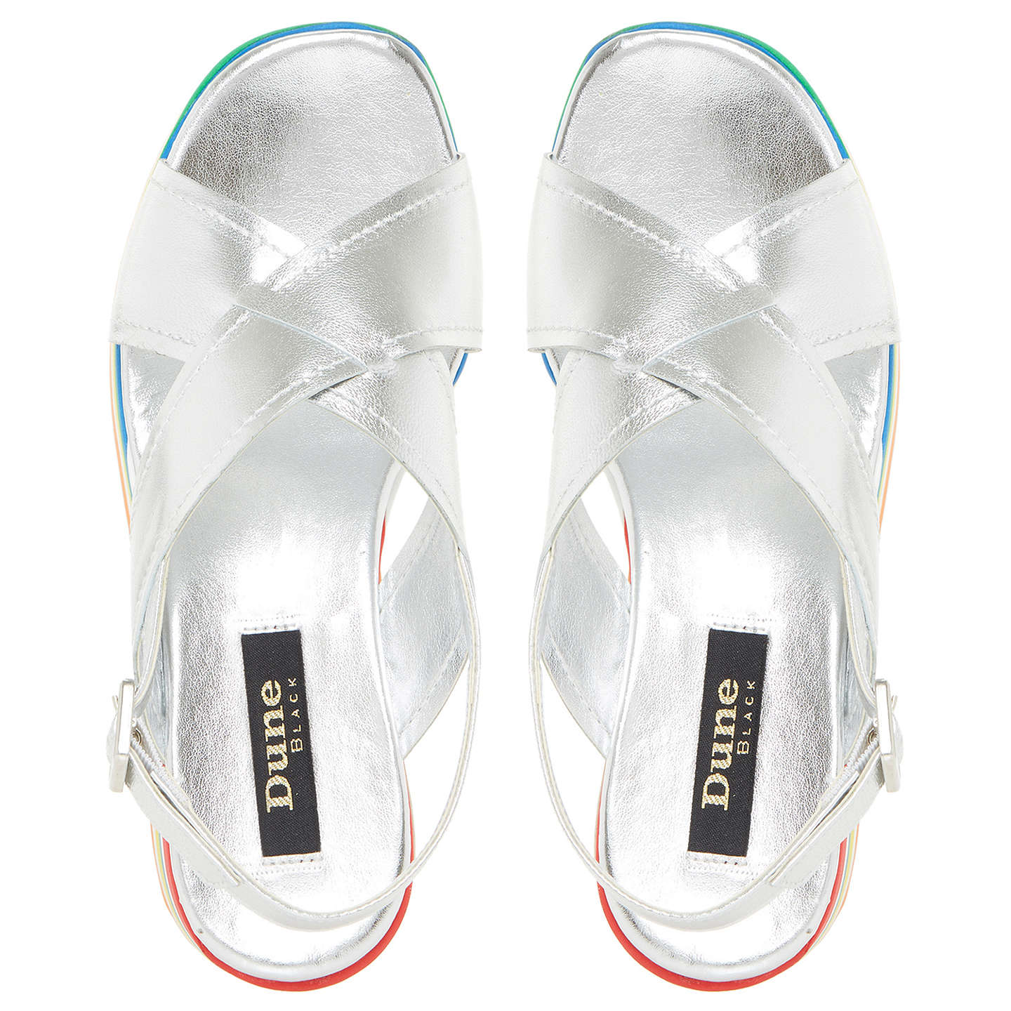 BuyDune Black Levell Cross Strap Sandals, Silver, 3 Online at johnlewis.com