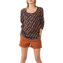 Buy Fat Face Jenny Giraffe Popover Top, Black Online at johnlewis.com