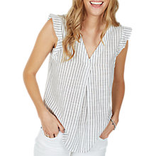 Buy Fat Face Jodie Stripe Cap-Sleeve Blouse, Ivory Online at johnlewis.com