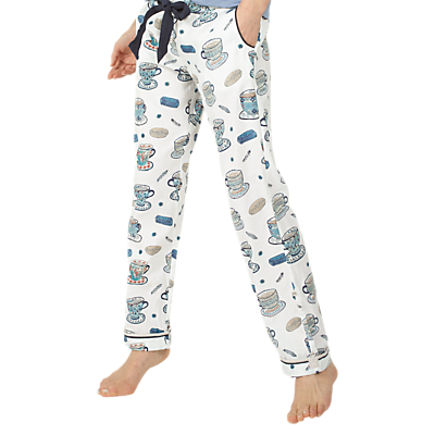 Fat Face Tea Cups Classic Pyjama Bottoms, Ivory