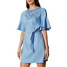 Buy Karen Millen Cutwork Cotton Floral Dress, Blue Online at johnlewis.com