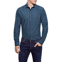 Buy Hackett London Winter Melange Check Shirt, Green Online at johnlewis.com