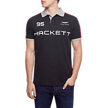 Buy Hackett London AMR Multi Polo Top, Black Online at johnlewis.com