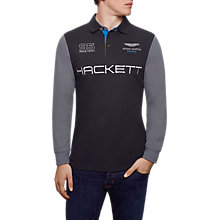 Buy Hackett London Aston Martin Racing Long Sleeve Polo Top, Black/Grey Online at johnlewis.com