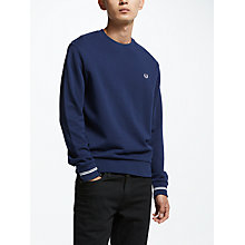 Buy Fred Perry Crew Neck Sweatshirt, Carbon Blue Online at johnlewis.com