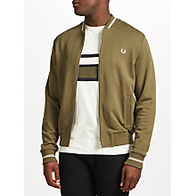 Buy Fred Perry Bomber Neck Sweatshirt Jacket, Iris Leaf Online at johnlewis.com
