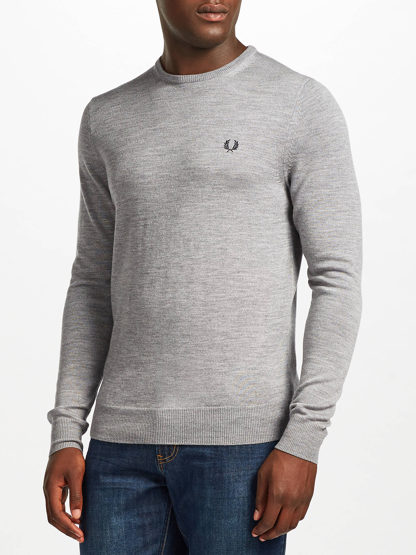 f6d561dd683222 Buy Fred Perry Classic Crew Merino Jumper, Steel Marl, M Online at  johnlewis.