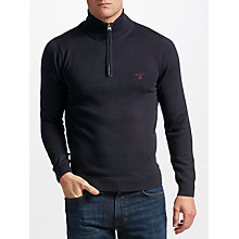 Buy Gant Cotton Half-Zip Jumper, Navy Online at johnlewis.com