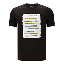 Buy Original Penguin Artist's Tools Illustration Printed T-Shirt, True Black Online at johnlewis.com