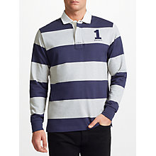 Buy Hackett London Block Striped Rugby Shirt, Navy/Grey Online at johnlewis.com