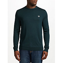 Buy Fred Perry Classic Crew Neck Jumper, Brit Racing Green Online at johnlewis.com