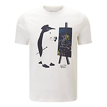 Buy Original Penguin Painter Illustration Printed T-Shirt, White Online at johnlewis.com