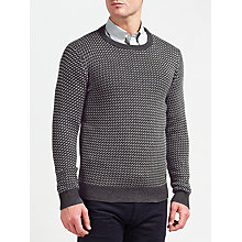 Buy Gant Nordic Patterned Crew Neck Jumper, Anthracite Melange Online at johnlewis.com