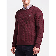 Buy Gant Cotton Cable Crew Neck Jumper, Purple Wine Online at johnlewis.com