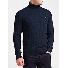 Buy Gant Cotton Cable Turtleneck Jumper, Evening Blue Online at johnlewis.com