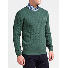 Buy Gant Cotton Cable Crew Neck Jumper, Tartan Green Melange Online at johnlewis.com