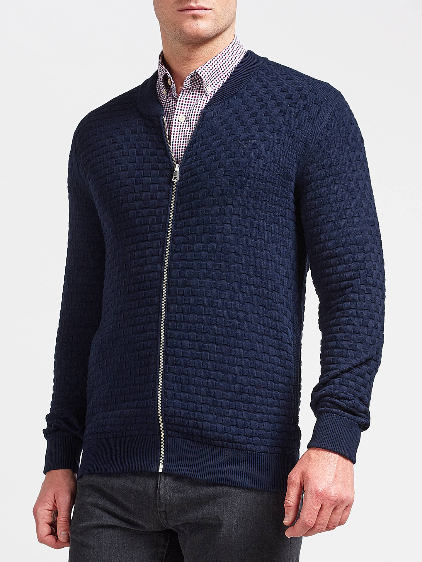 256ce3d074c Buy GANT Texture Knit Jacket, Navy, M Online at johnlewis.com ...