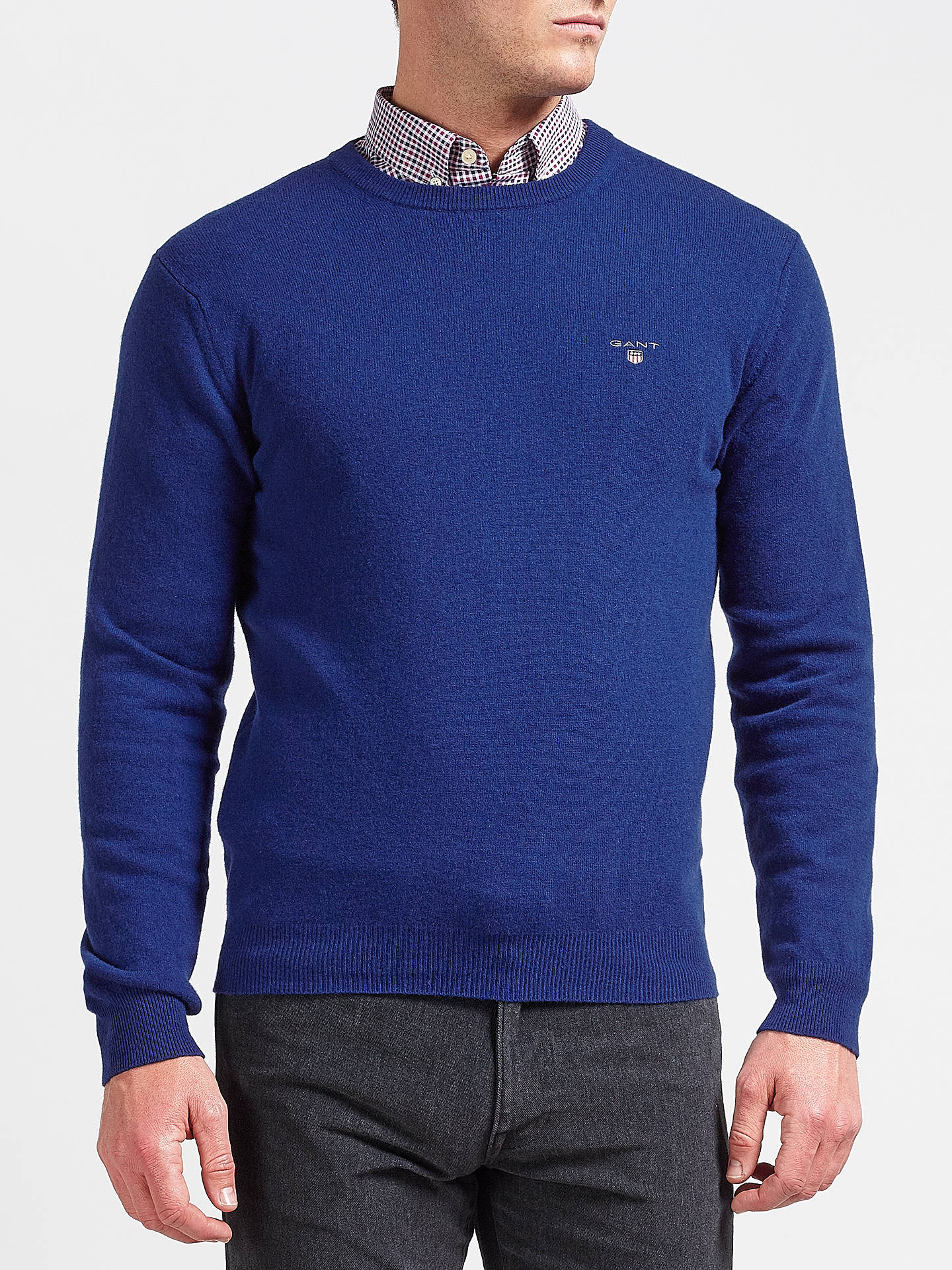 534c858ec9f725 Buy Gant Superfine Lambswool Crew Neck Jumper, Yale Blue, M Online at  johnlewis.
