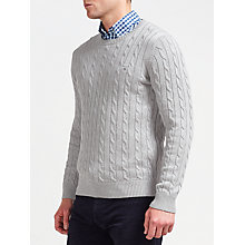 Buy Gant Cotton Cable Crew Neck Jumper, Grey Melange Online at johnlewis.com