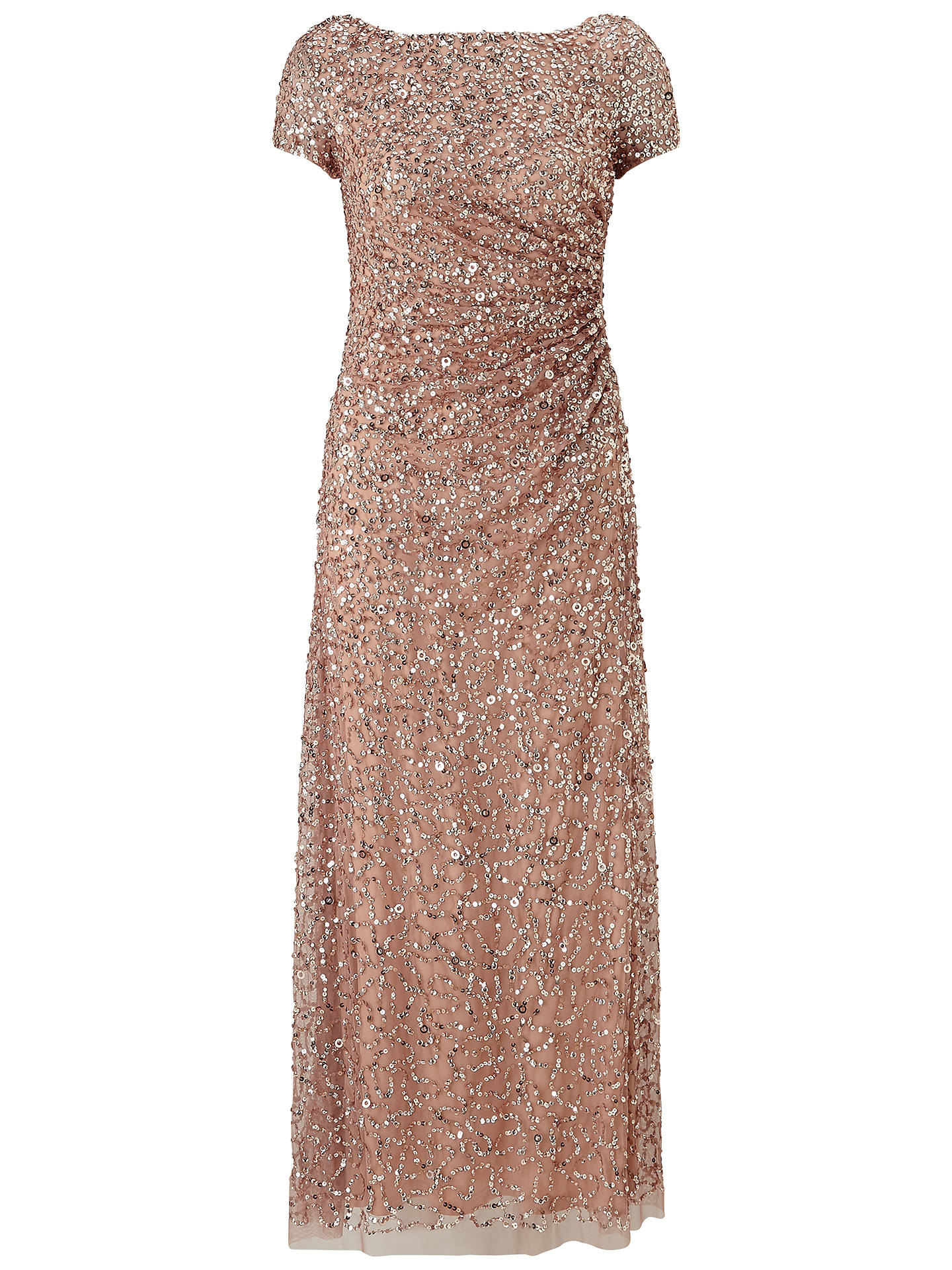 Adrianna Papell Petite Draped Sequin Dress Rose Gold At John Lewis Partners