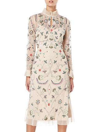 Raishma Floral Frill Dress, Nude