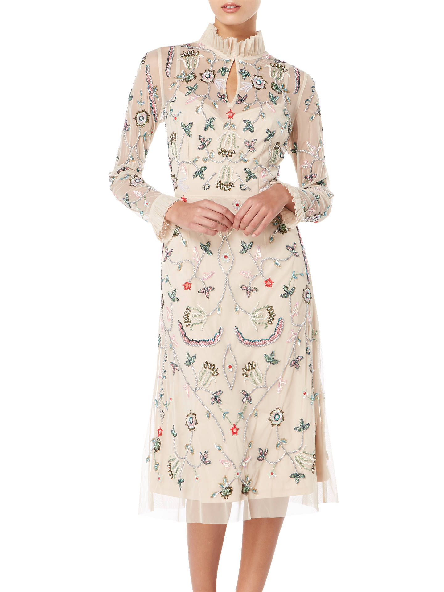 Buy Raishma Floral Frill Dress, Nude, 8 Online at johnlewis.com