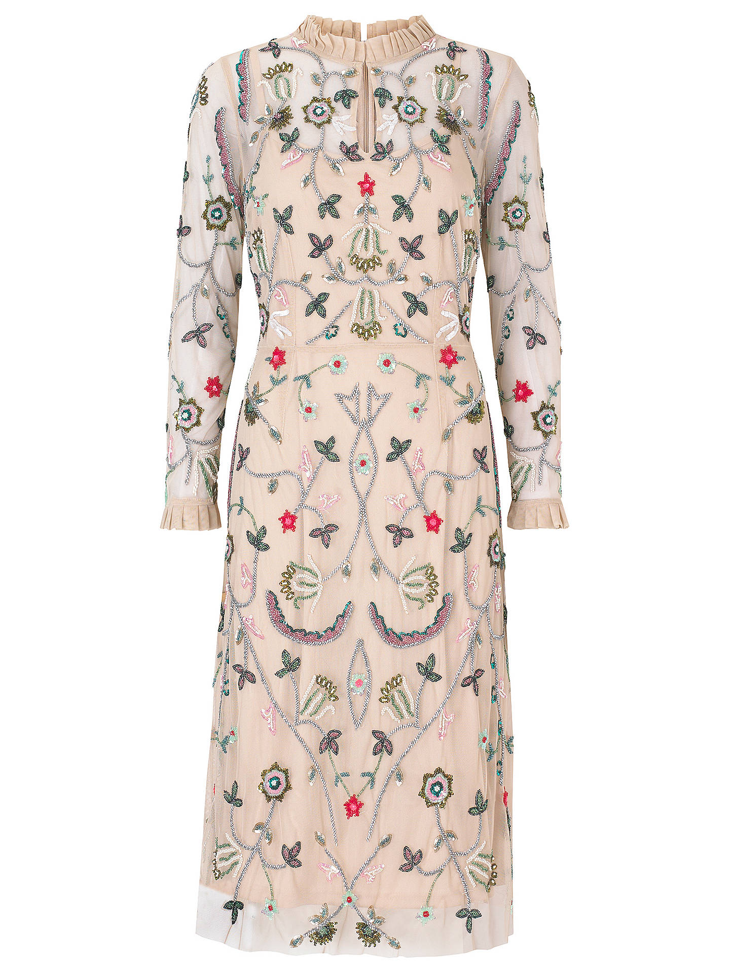 BuyRaishma Floral Frill Dress, Nude, 12 Online at johnlewis.com