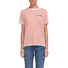 Buy Whistles Mon Cheri Stripe Tee, White/Red Online at johnlewis.com