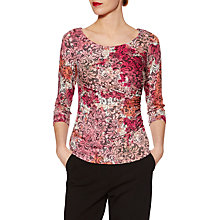 Buy Gina Bacconi Lace Effect Print Jersey Top, Peach/Pink Online at johnlewis.com